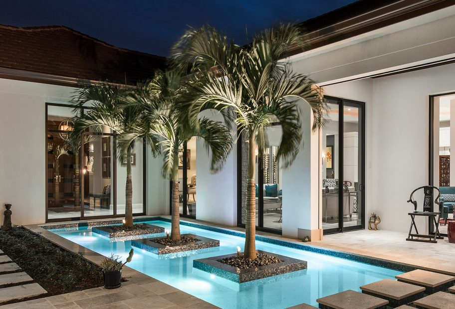Palms in Pool at Entry