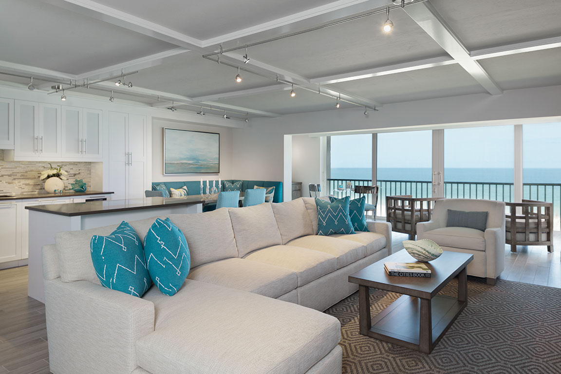 Beachfront Condo Renovations : Contemporary beach condo remodel on gulfshore blvd