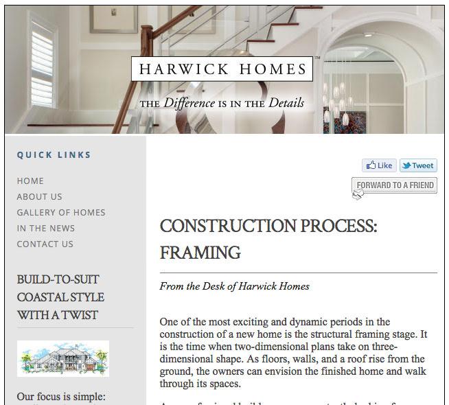 construction process framing harwick homes